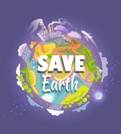 Sauver affiche de la terre terre avec vue sur la carte de l & # 39 Banque d'images - 87431016