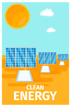 Clean Energy Poster with Solar System Batteries Illustration
