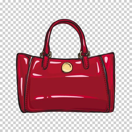 おしゃれな光沢のある赤い袋分離の図