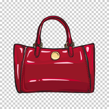 Fashionable Glossy Red Bag Isolated Illustration Çizim
