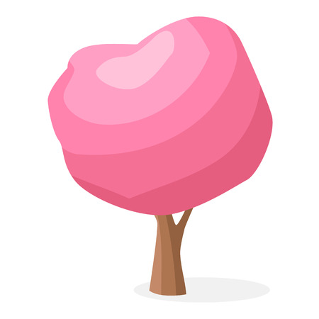 Rbol de dibujos animados con la ilustración aislada corona rosa Foto de archivo - 87431023