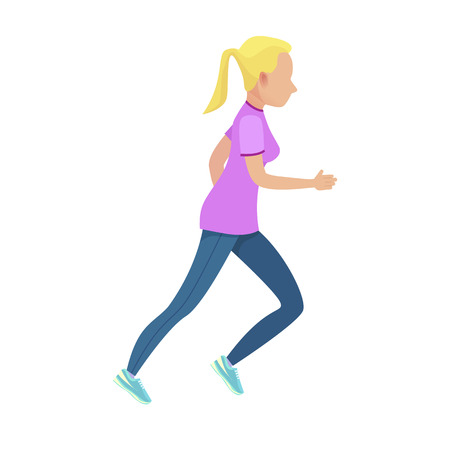 Young Blonde Girl in Sport Form Running