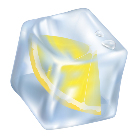 Ice Cube with Frozen Slice of Lemon Closeup Icon Ilustrace