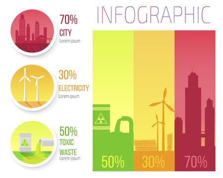 도시 전기 독성 폐기물 Infographic 포스터 일러스트
