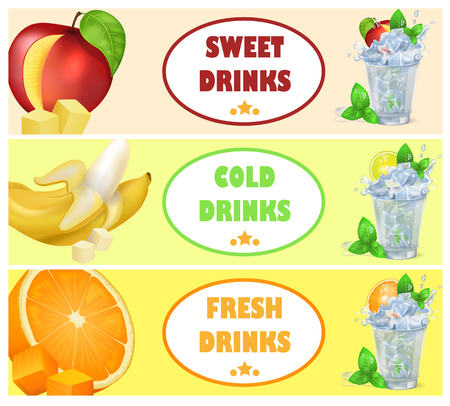 Sweet Cold Fresh Drinks with Tasty Juicy Fruits Illustration