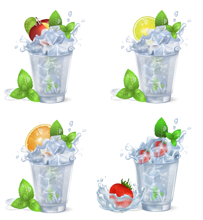 Cold Fruity Drinks with Ice Isolated Illustrations Illustration