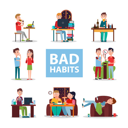 Bad Habits Poster with People Who Do Wrong Set Imagens - 87431030