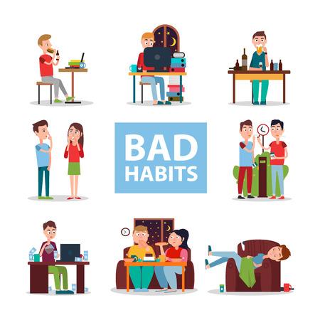 Poster van slechte gewoontes met mensen die verkeerde set doen