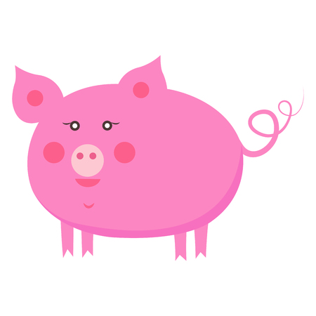 Cute Piggy Cartoon Flat Vector Sticker or Icon