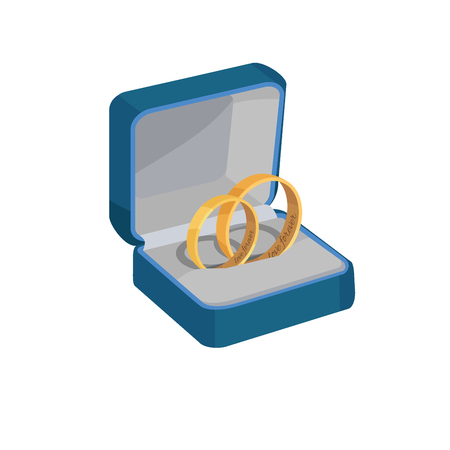 Gold Wedding Rings with Love Forever Engravings Illustration