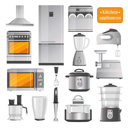Kitchen Electric Appliances Big Illustrations Set Ilustração