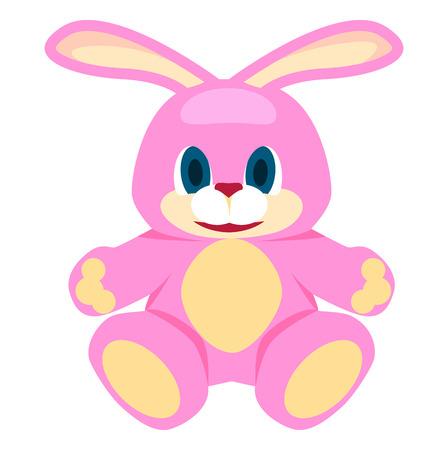 사랑스러운 핑크 큰 소프트 토끼 격리 된 그림 일러스트