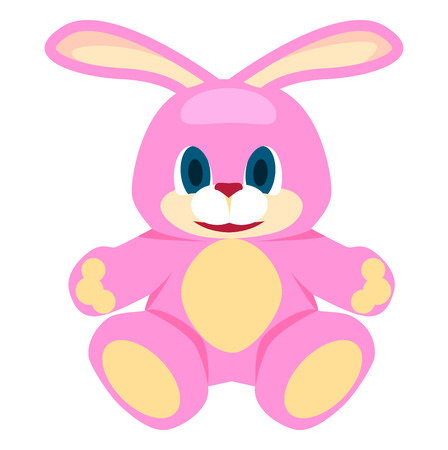 Adorable Pink Big Soft Bunny Isolated Illustration