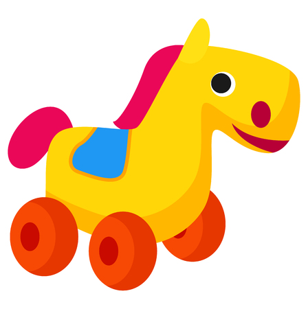 Plastic Colorful Horse Toy on Wheels Isolated Illustration