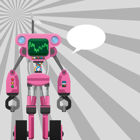 Pink Robot with Pincers on Arms and Wheels on Legs