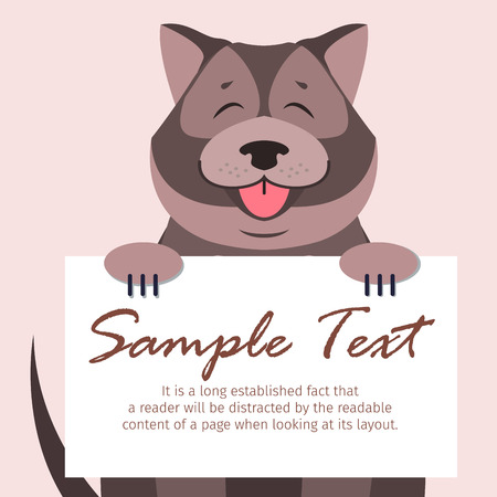 Cute Chow-Chow with closed eyes and open maw holds signboard with text isolated on peach background. Friendly dog breed vector illustration. Cartoon fluffy domestic animal with nice character.