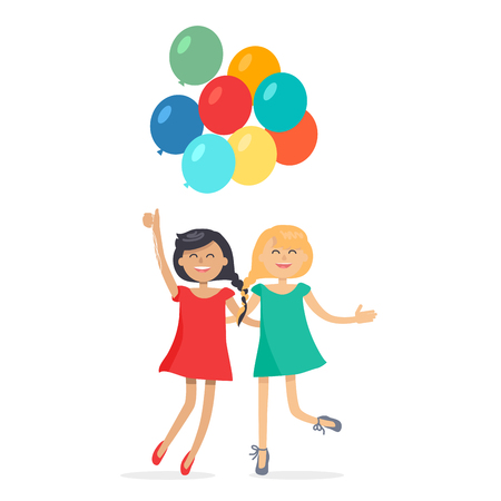 Happy Girls with Colorful Balloons Friends Forever Illustration