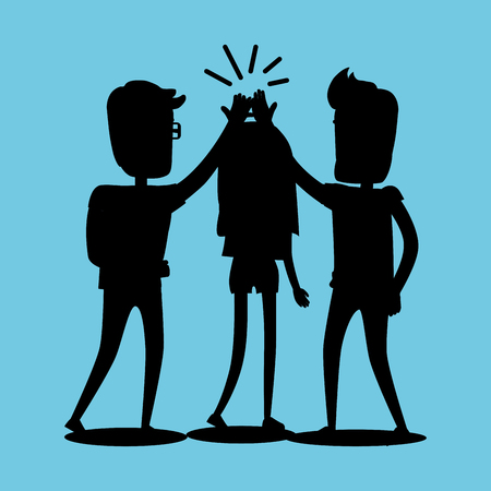 Silhouettes of guys and girl clapping hands together above heads. Best friends spend fun time, friendship day flat design. Vector illustration of unknown unrecognizable people banner in cartoon style Çizim