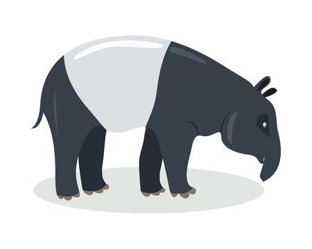 Malayan Tapir Cartoon Icon in Flat Design