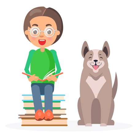 Child in Glasses Sitting with Books and Husky