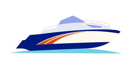 Blauw met de oranje motorboot van de patroonsnelheid op blauw zeewater op witte vectorillustratie als achtergrond. Zwarte buitenboordmotor is aan de achterzijde geïnstalleerd. De romp is hoog en wit, stuurboord wordt weergegeven