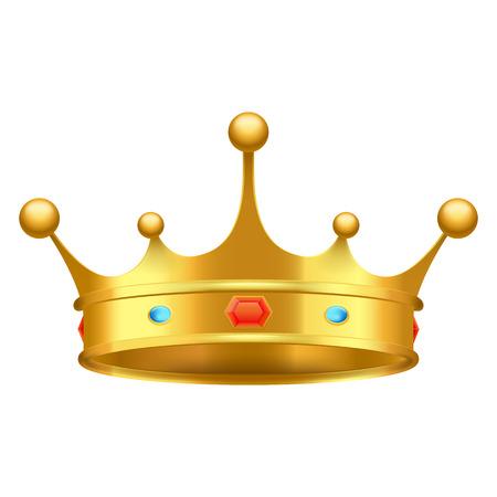Corona de oro con el primer rojo y azul de las piedras aislado en blanco. Tema de la grandeza del rey adornado con el ejemplo del vector de los ornamentos de lujo. Foto de archivo - 87470076