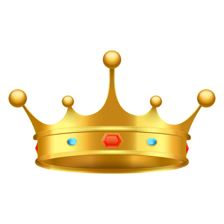 Golden crown with red and blue stones close-up isolated on white. King greatness subject decorated with luxury ornaments vector illustration.