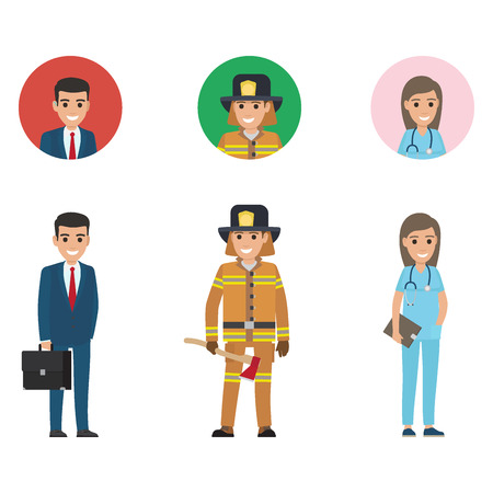 Professions set full length and web buttons vector. Young manager, lifesaver with long axe, doctor or nurse with stethoscope and dark tablet Ilustração