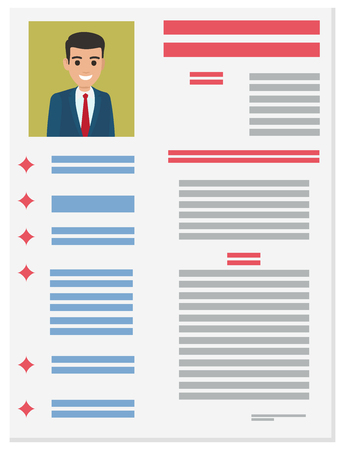 Resume with detailed information about executive manager in suit vector illustration. Job application form of businessman Illustration