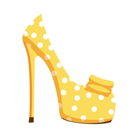 흰 점과 흰색 배경에 고립 된 높은 뒤꿈치에 펌프 신발을 노랑. 신선한 모양에 대 한 밝은 여성 신발의 벡터 일러스트 레이 션. 여름 시즌 하이힐과 유