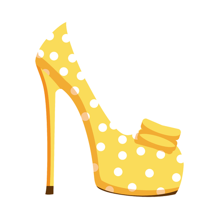 Yellow with white dots and bow pump shoe on high heel isolated on white background. Vector illustration of bright women shoes for fresh look. Fashionable shoes with high heels for summer season.