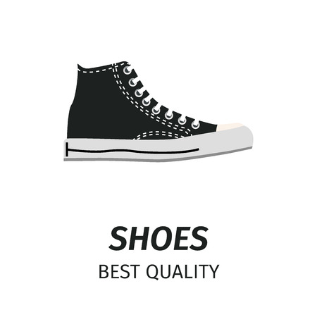 Best quality black shoes with white stitching, shoelaces and sole isolated on white background with sign. Comfortable footwear for modern casual look. Trendy unisex footwear vector illustration.