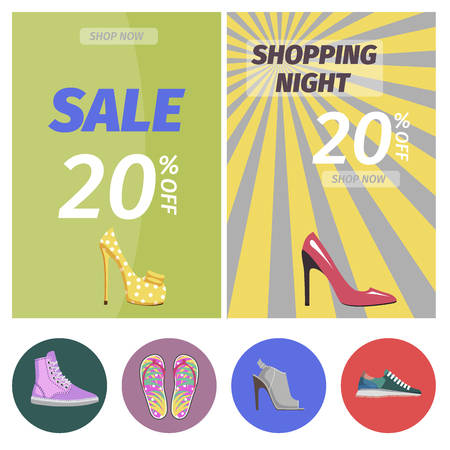 Shopping night with big sale in shoes store poster. Buy elegant stilettos, comfortable sneakers, summer flip-flops and stylish mules with 20 discount. Advertising banner vector illustration.