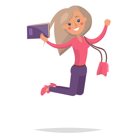 Jumping blonde girl student in pink sweater and shoes with book and purse isolated on white background. Emotion of happiness expression vector illustration. Reaction for successful exams passing.