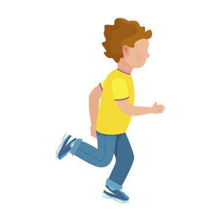 黄色の t シャツ、ジーンズ、スニーカーで顔の小さな男の子は、白い背景の上の高速分離ベクトル図を逃げます。
