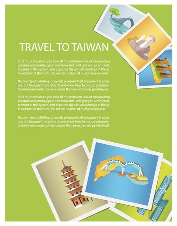 Travel to Taiwan bright promotion poster with photos of attractions. Amazing buildings, unusual bridges and historical monuments vector illustration. Illustration