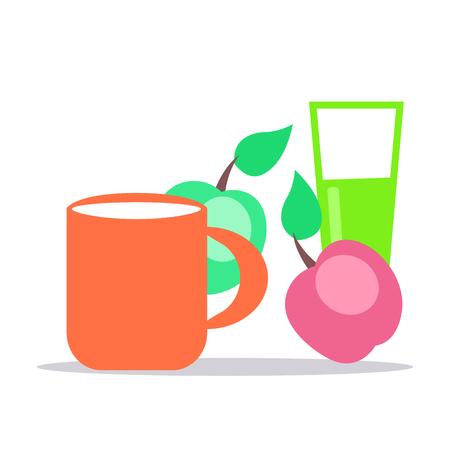 작은 아기 영양. 신선한 우유, 잘 익은 사과 주스와 유리의 전체 컵 흰색 배경에 고립 플랫 벡터입니다. 아이 건강한 배급 개념을위한 자연적인 아이들