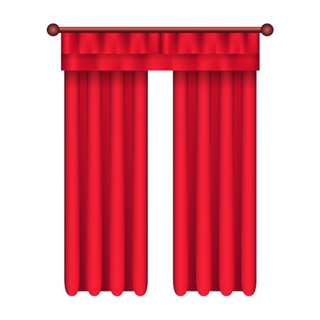 Heavy straight drapes of red fabric with lambrequin vector isolated on white background. Classic curtains in victorian style on cornice illustration for window dressing and interior design concepts