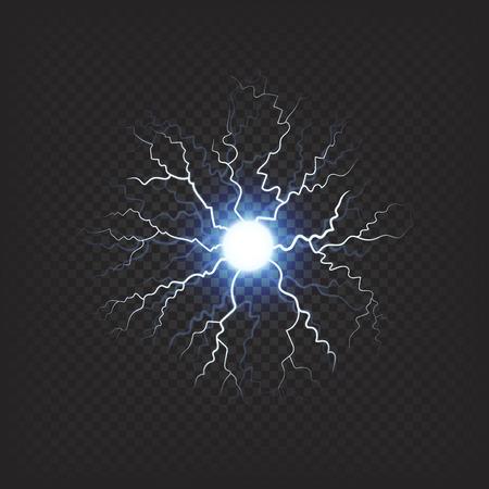 파란색 빛나는 및 lightnings 투명 한 배경에 현실적인 조명 효과 눈 먼 지점. 과학 또는 마술 개념에 대 한 청구 된 공 번개 벡터 일러스트 레이 션