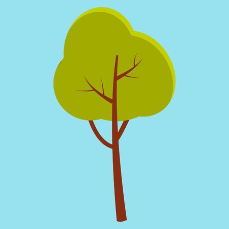 Albero verde di estate con l'icona piana del primo piano del gambo marrone isolata su fondo blu. Illustrazione vettoriale della natura in stile cartoon. Archivio Fotografico - 87470096