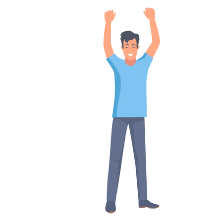 Man in t-shirt and trousers holds two hands up vector illustration in flat style design. Emotional nonverbal body language clue sign of win