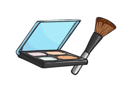 Black capsule with eyeshadows and brush isolated on background. Make up beauty tool vector illustration. Women face appliance to emphasize eyes . Compact cosmetic for bright look. Çizim