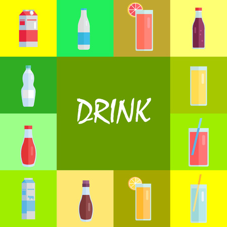 Refreshing Drinks and Sweet Soda Illustrations Set