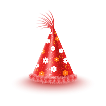 dressing up party: Bright red festive cap with flowers and tassel isolated on white background. Funny party accessory vector illustration. Holiday headgear for festive mood and having fun. Dress up for celebration.