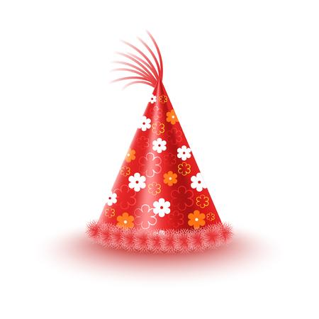 Casquette festive rouge vif avec des fleurs et gland isolé sur fond blanc. Illustration vectorielle de drôle de partie accessoire. Chapeau de vacances pour une ambiance festive et s'amuser. Habille-toi pour la fête. Banque d'images - 87470102