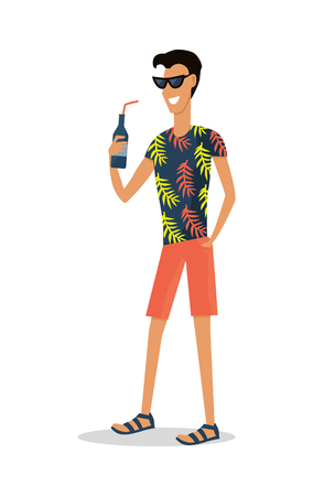 Summer vacation pleasure. Young smiling man in beach clothes and sunglasses standing with bottle of beverage in hand flat vector isolated on white background. For tourist concepts, travel company ad Illustration