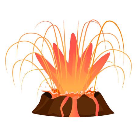 大規模な火山の噴火は、白い背景で隔離。大きな熱い燃焼溶岩スプラッシュ ベクトル イラスト。活発な火山の深い口輪をクローズ アップ。危険な