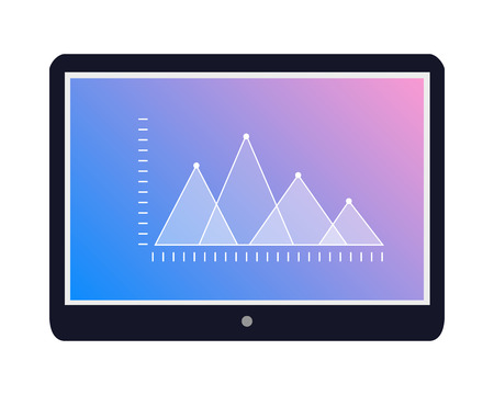 Tablet Icon with Graphic on Screen Flat Vector Illustration