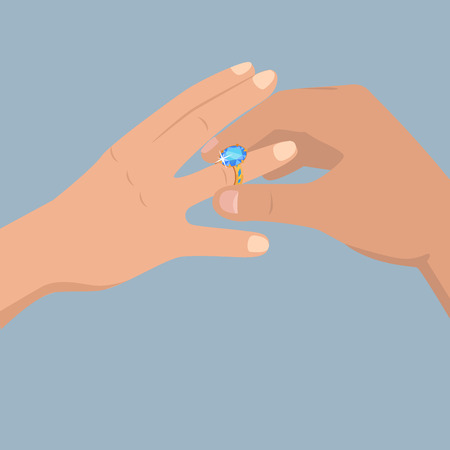 Proposal of Marriage Flat Vector Concept
