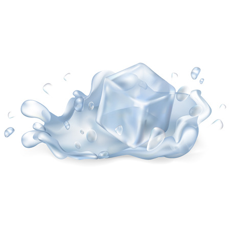 Ice Cube Drops in Water Isolated Illustration